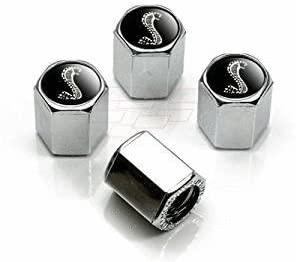4pcs Shelby GT Black Snake Chrome Tire Stem Valve Caps Accessories Car Products Compatible Fit for USA Auto Model Ford Mustang