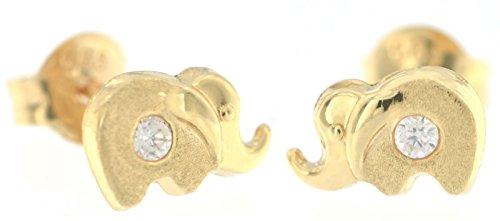 Erce Elefante Pendientes Con Circonita, Oro Amarillo 14K (585/1000)
