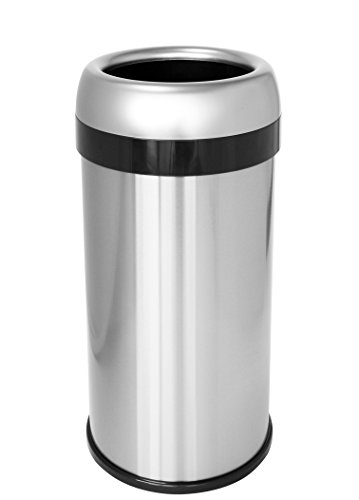 iTouchless 16 Gallon Dual-Deodorizer Round Open Top Trash Can, Commercial Grade Stainless Steel, 60 Liter Open Garbage Can - Garbage Cans Waste Receptacles