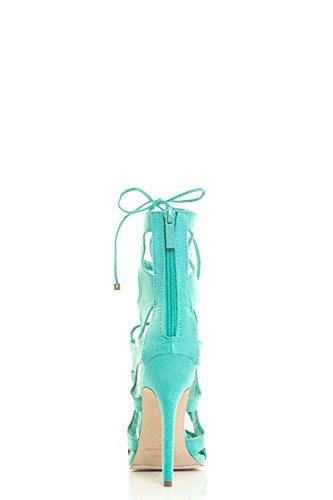 Breckelles Womens Peep Toe Lace Up Gabbia Gladiator Cut-out Tacco A Spillo Pompa Sandalo Aqua