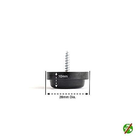 Pie de Goma Antideslizante con Tornillo Varios Tama/ños y Colores Disponibles Negro, redondo 28mm Di/ámetro con 1 taladro - paquete con 36 Hecho en Alemania Tap/ón Para Mueble