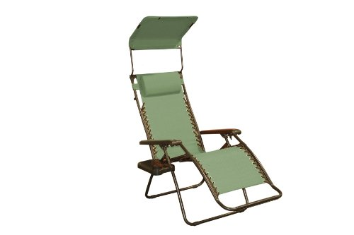 Bliss Hammocks Zero Gravity Chair with Canopy and Side Tray, Sage Green, 26
