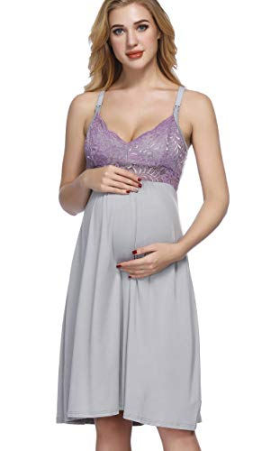 Maternity Nursing Dress for Breastfeeding Nightgowns Pajamas for Women XL Gray+Lilac