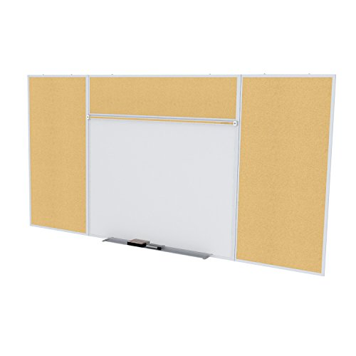 Ghent Style E 4 x 8 Feet Combination Board, Porcelain Magnetic Whiteboard and Natural Cork Bulletin Board , Made in the USA by Ghent
