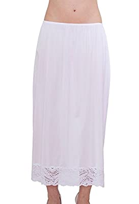 Under Moments Half Slip Vintage Style Maxi 32-Inch with All Around Lace - Medium - White