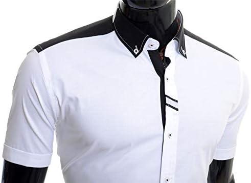 Cipo & Baxx Camisa de Manga Corta para Hombre Polo Blanco Negro Algodón Slim Fit