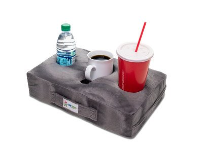 Cup Cozy Pillow (Gray) As Seen on TV-The world's BEST cup holder! Keep your drinks close and prevent spills. Use it anywhere-Couch, floor, bed, man cave, car, RV, park, beach -