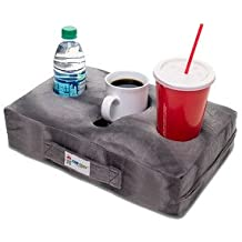 Cup Cozy Pillow (Gray)- The world's BEST cup holder! Keep your drinks close and prevent spills. Use it anywhere-Couch, floor, bed, man cave, car, RV, park, beach and more!