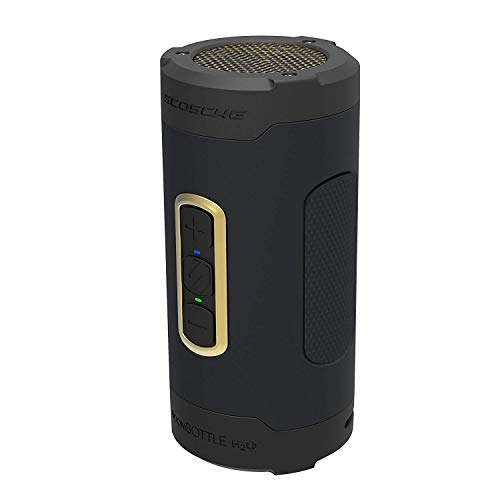 SCOSCHE BoomBottle H2O+ Rugged Waterproof Portable Wireless Bluetooth Speaker - 360-Degree 12 Watt 50mm Speaker with Subwoofer and Indoor/Outdoor EQ Functions - Black/Gold (BTH2PGD)
