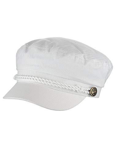 NYFASHION101 Unisex 100% Cotton Greek Fisherman Sailor Fiddler Driver Cap Hat, White -
