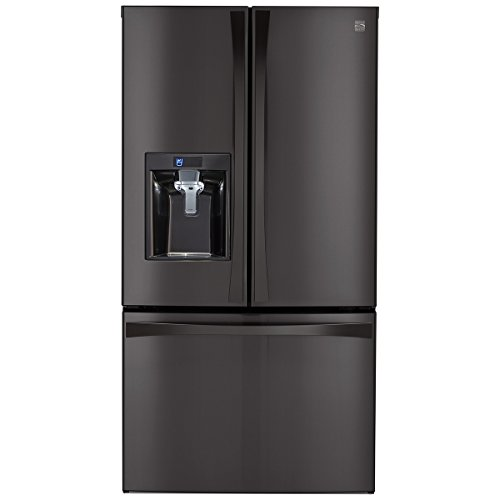 (Kenmore 4673157  Elite 28.7 cu. ft. French Door Bottom Freezer Refrigerator in Black Stainless Steel, includes delivery and hookup (Available in select cities)