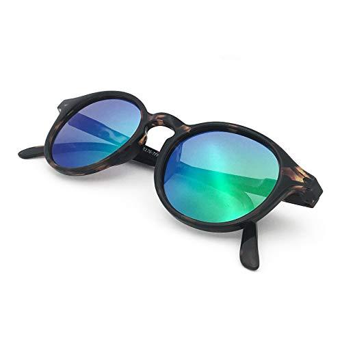 J+S Hali Retro Round Cat Eyes Sunglasses, Polarized, 100% UV protection, Spring Hinged (Tortoise Frame/Green Mirror Lens)