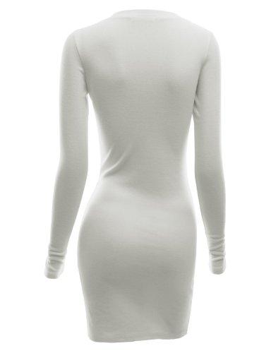 Doublju Slim Fit Nervuré Bouton Tricoter En Bas De Robe Sweat À Capuche Henley Pour Les Femmes De Taille Plus Kwop044_ivory