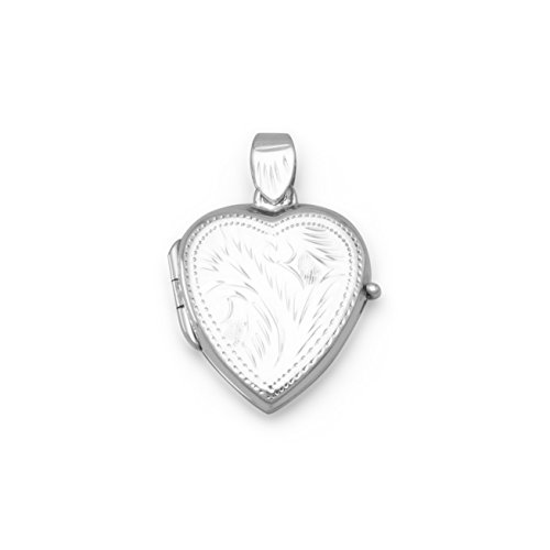 Sterling Silver Small Etched Heart Locket 26x18mm Locket Holds 2 Pictures (Etched Heart Locket)