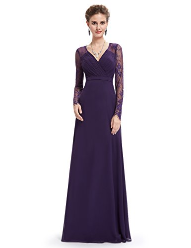 Ever-Pretty Womens Long Sleeve Lace Floor Length Prom Dress 08 US Purple (Ever Pretty Purple Prom Dress)