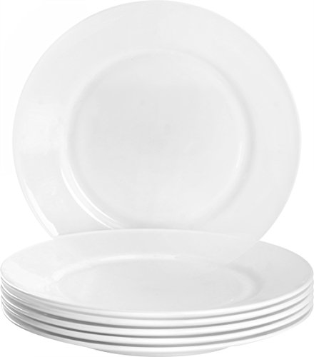 6-Piece Flat Edge Dinning Plate Set 10.5 Inches - Dishwasher Safe Opal Glassware - Microwave/Oven Friendly ()