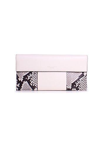 Tory Burch Block T Embossed Leather Ticket Sleeve Clutch Handbag in New Ivory Multi ()
