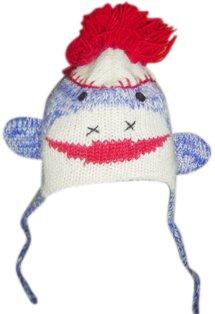 Blue Sock Monkey Pom Pom Hat -