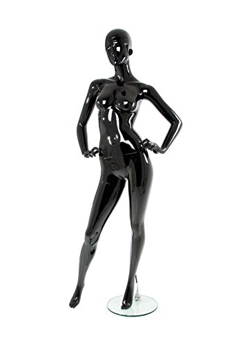 Newtech Display MAF-P2-425/SJBK Polypropylene Trendy Face Mannequin, Shiny Black (Polypropylene Display)