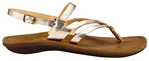 OLUKAI Women's U'i Ko'o Sandals, Bubbly/Sahara, 9 M - 9.5 Flat Inch Plate