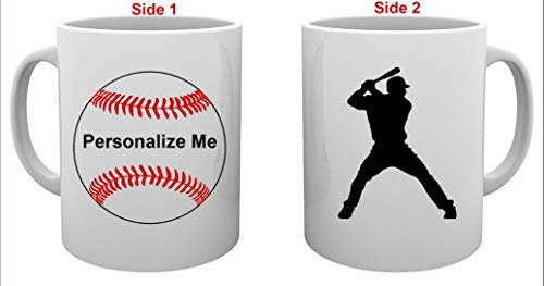 (Personalized Baseball Softball Sports Player Coffee Mug - Add Name and Number with Design Photo or Text of Choice to Ceramic White Cup - Single or Double Sided - 11 Ounces)