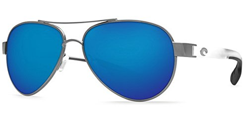 Costa Del Mar LR74OBMP Loreto Sunglass, Gunmetal with Crystal Temples Blue Mirror