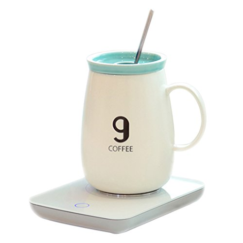 OKCafe Auto Shut Off Coffee 10.8 Ounce Coffee Mug Warmer Electric Heat Cup Warmer for Office & Home Use (Include 400ML Mug)