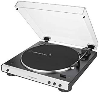 Audio-Technica AT-LP60XBT-WH Fully Automatic Bluetooth Belt-Drive Stereo Turntable, White/Black, Hi-Fidelity, Plays 33 -1/3 and 45 RPM Records, Dust ...