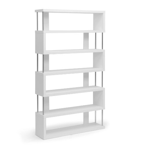 Baxton Studio Barnes 6-Shelf Modern Bookcase, White by Baxton Studio