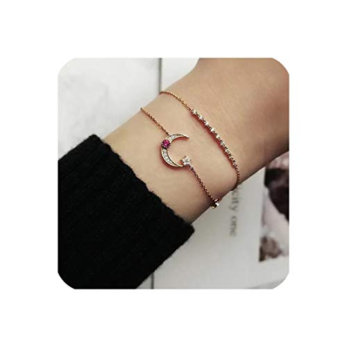 (925 Sterling Silver Factory Minimalist Design Cute Girl Women Chain Bracelet,Gold-Color)