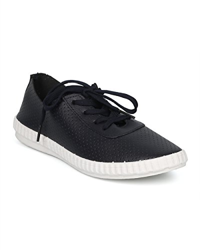 Sneaker Perforata Da Donna Alrisco - Sneaker Da Jogging Con Lacci - Comoda Scarpa Da Ginnastica Atletica Da Allenamento Running Running Sneaker - Hd90 By Refresh Collection Similpelle Blu Navy