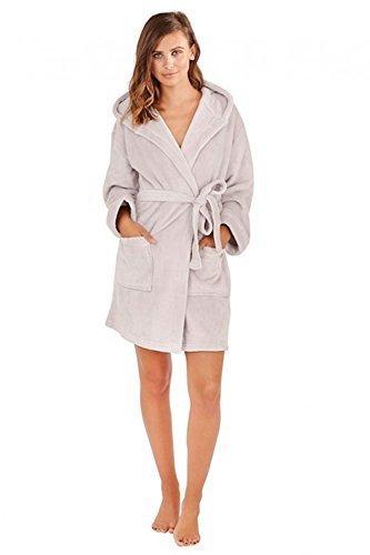 Albornoz de Robes ropa cálida con mujer para forro Grey capucha Super suave y dormir señoras Silver de polar OqwOrvP
