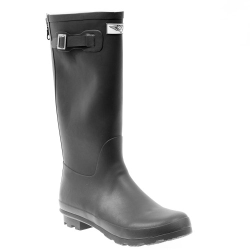 Forever Young Womens Solid Black Tall Rubber Rain Boots Black mjDs8rWO