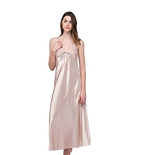 SexyTown Women's Long Trimmed Satin Nightgown V-Neck Full Slip Lingerie Sleepwear (Large, Bisque)