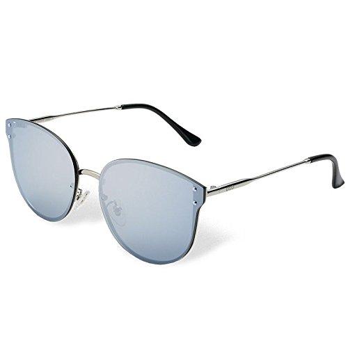 Metal de de Mujer Sol Sol de Gafas Sunglasses Guía Silver de TL Atrás en Gato Plata Clásico sesgada Gafas polarizadas Sol Ojo Gafas H7nSFSx86