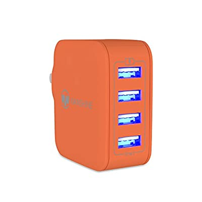 Wanshine 31W 6.2A Universal 4-Port USB Travel Wall Charger with Hidden LED Indicator Light by Wanshine