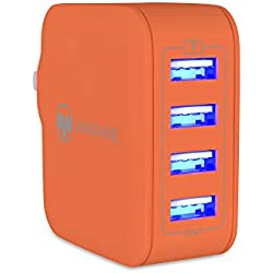 USB iPhone Charger 31W 6.2A Universal 4-Port USB Travel Wall Charger with Hidden LED Indicator Light by Wanshine - Orange