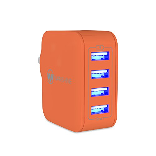 iPhone Charger, with Lightning Cable and Micro USB Cable Gift, Smart Multi-Port USB Travel Wall Charger with Hidden LED Indicator Light by Wanshine (4 Port Orange, 31W/6.2A)