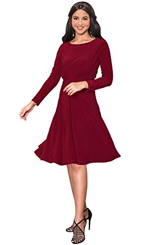 KOH KOH Womens Long Sleeve Dressy A-line Fall Winter Formal Flowy Work Empire Waist Knee Length Vintage Swing Modest Cute Abaya Mini Midi Dress Dresses