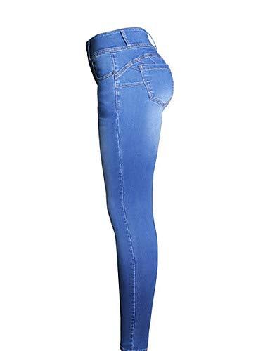 para Mujeres básicos Color Pantalones sólido Jeans Blue YFLTZ twqBSCc