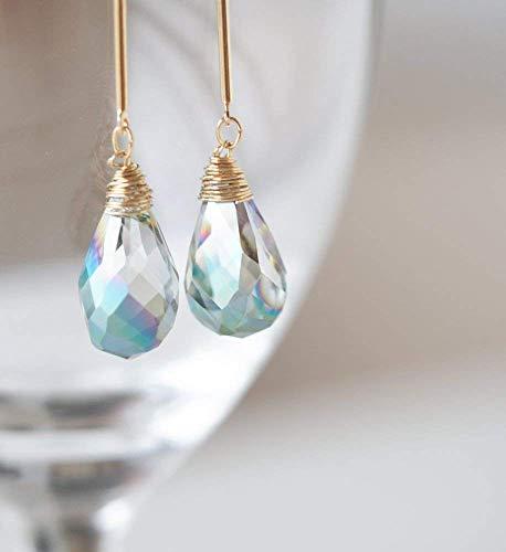 Aurora Blue Teardrop Stone Dangle Bar Earrings