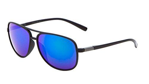 Sport Aviator Sunglasses Color Mirror Lens Active Lifestyle Men Women Eyewear (Blue)