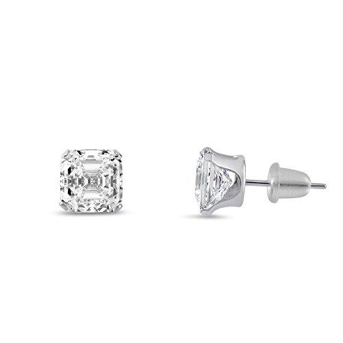 Asscher Cut 4x4mm White Cubic Zirconia 4 Prong Set 10K White Gold Stud Earrings (Stud Asscher)