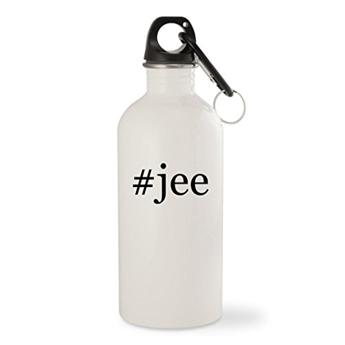 #jee - White Hashtag 20oz Stainless Steel Water Bottle with Carabiner