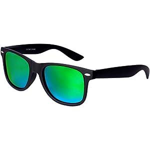 Nerd Sunglasses Matt Rubber Style Retro Vintage Unisex Glasses Spring Hinge Black - 24 Different Models (Black-Green, 53)