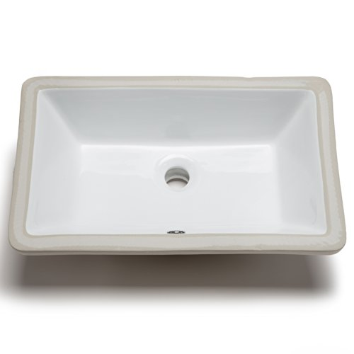 Hahn Ceramic VC014 Medium Rectangular Ceramic Bathroom Sink, White