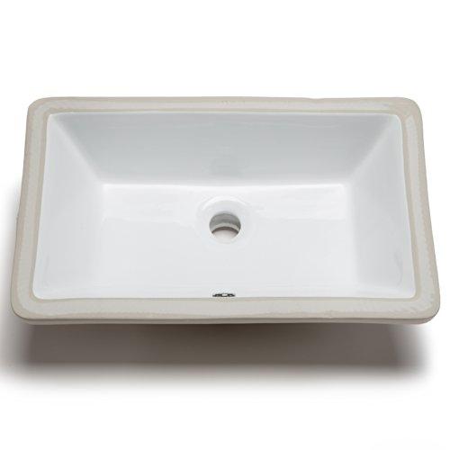 Hahn Ceramic VC014 Medium Rectangular Ceramic Bathroom Sink, (Medium Undermount Bathroom Sink)