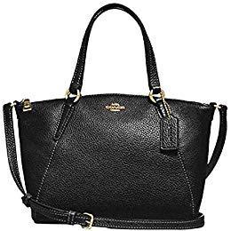 Coach Pebble Leather Mini Kelsey Satchel Crossbody Handbag F28994 Black/Imitation Gold