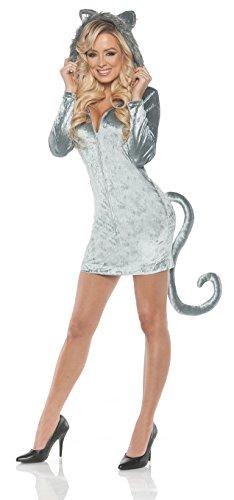 Women's Hooded Wolf Costume - Mini Dress w/Tail, (Woman Burglar Halloween Costume)