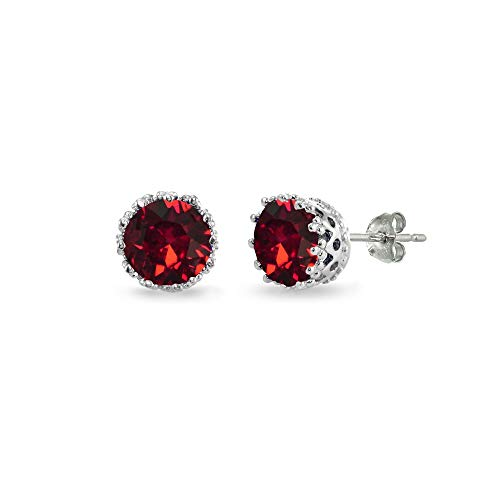 - Sterling Silver Polished Red 6mm Round-cut Crown Stud Earrings Made with Swarovski Crystals